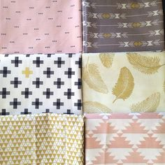 Currently obsessing over this color palette. New fabrics in soft pink, gray, and metallic gold.