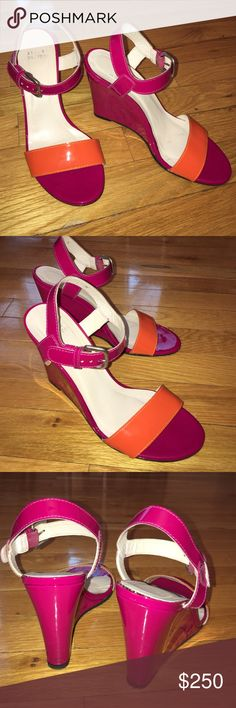 🆕 SALE! Stuart Weirzman Colorblock Leather Wedge Beautiful wedge sandal. Size 7M. Few barely visible scuffs on the shoe sole from wear. Otherwise good condition. Very comfy! Unfortunately they no longer fit me otherwise I would've kept :( Stuart Weitzman Shoes Wedges