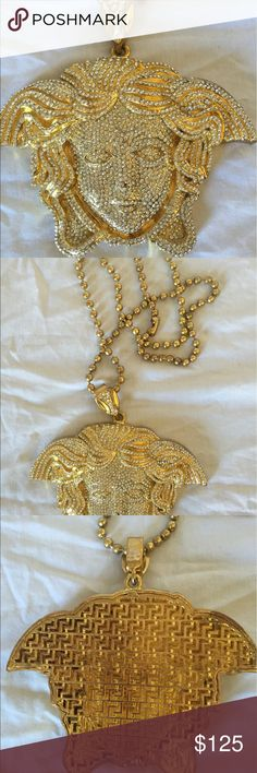 """Versace Medusa XLarge Pendant & Necklace Brand New. Versace style XLarge Medusa gold colored white crystal pendant and necklace. Custom made. Pendant is about 4 inches and has a caged greek design backing. The round beaded necklace is about 32"""" long. SIN Accessories Jewelry"""