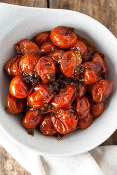 These garlic and balsamic grape tomatoes are so sweet and savory. They're perfect for sandwiches, salads, or eggs and come together so easily! Healthy Gluten Free Recipes, Vegetarian Recipes, Cooking Recipes, Vegan Meals, Pasta Recipes, Kitchen Recipes, Healthy Food, Healthy Eating, Side Dish Recipes