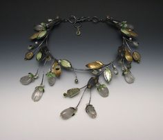 Lydia Gerbig-Fast spring freeze necklace. Sterling silver, 14kt gold and 18kt gold bi-metal, enamel on fine silver and copper, pearls, rainbow pyrite, tourmaline, tourmalinated quartz