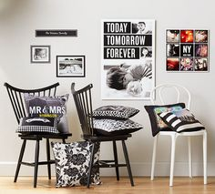 Black & white room designs with Shutterfly's Black & White Collection. Shutterfly's home decor ideas bring warmth to your favorite room. Black White Rooms, Black And White, White Home Decor, White Houses, Shutterfly, White Patterns, Wall Decals, Pillows, House Styles