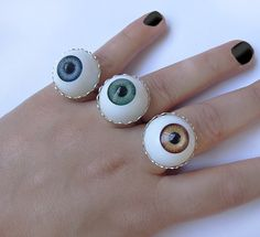 Evil Eye Ring - Green Round Big - Halloween - Gothic Weird Quirky Funny Spooky. €10.00, via Etsy.