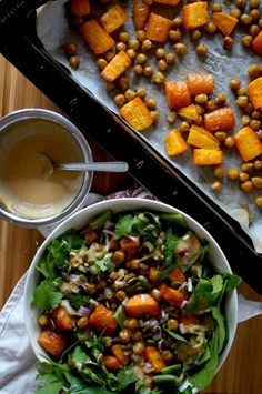 roasted chickpea + carrot salad with miso-tahini dressing