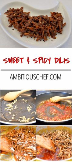 Sweet and Spicy Dilis (anchovies) is a Filipino dish that is made of dried anchovies coated with a sweet and spicy caramel. The coating is made of tomato sauce and brown sugar with powdered chili of chili flakes. It is popular as snack and as a finger food.