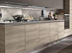 Model Tokyo - Two-colour minimal modern kitchen Kitchen Room Design, Kitchen Cabinet Design, Home Decor Kitchen, Interior Design Living Room, Modern Kitchen Island, Minimal Kitchen, Modern Kitchen Cabinets, Modern Kitchen Interiors, Contemporary Kitchen Design