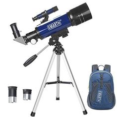 Emarth Telescope, Travel Scope, Astronomical Refracter Telescope with Tripod & Finder Scope, Portable Telescope for Kids Beginners (Blue) Bushnell Binoculars, Telescopes For Sale, Astronomical Telescope, Look At The Moon, Amazon Sale, Tech Support, Aperture, Tripod