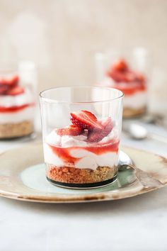 This is a delightful strawberry cheesecake recipe that is more like a mousse than a dense fridge cheesecake. The filling is dolloped onto a fabulous nut crumble base and finished off with a drizzle...