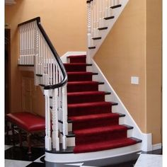 Stylish stair carpet ideas and inspiration. So you can choose the best carpet for stairs.Quality rug for stairs, stairway carpets type, etc. Best Carpet For Stairs, Stairway Carpet, Painted Staircases, Painted Stairs, Hallway Colours, Stair Rugs, Staircase Makeover, Staircase Remodel, Edwardian House