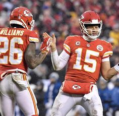 """"""" quarterback Patrick Mahomes celebrated with running back Damien Williams after Mahomes scored on a dive into the end zone late in the second quarter against the during AFC divisional game at Arrowhead Stadium in Kansas City, Mo. Kansas City Chiefs Football, Football S, American Football, Football Helmets, Pittsburgh Steelers, Dallas Cowboys, Afc Championship, Nfl Sports, Sports Baby"""