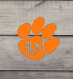 Clemson Tiger Paw with Monogram Decal. Can be used indoors or out by SCSassyBelle on Etsy Bff Gifts, Grad Gifts, Teacher Gifts, Yeti Decals, Vinyl Decals, Clemson Tiger Paw, Bird Barn, Barn Owls, Colorful Birds