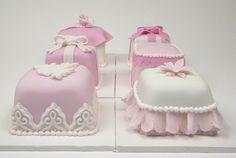 Light pink girly mini cakes.