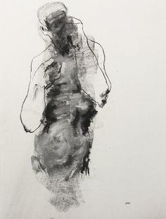 DerekOverfield-Gestural Male Figure Drawing, Drawing 142, pastel on paper.