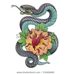 oriental snake and peony flower Tattoo Snake, Lion Tattoo, Japanese Snake Tattoo, Bauch Tattoos, Oriental, Snake Drawing, Traditional Japanese Tattoos, Japanese Patterns, Peony Flower