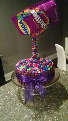 Skittles anti-gravity cake