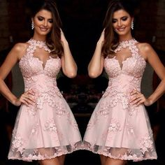 Elegant Short A Line Cocktail Dresses 2017 Pink Halter Lace Appliques Backless Party DressesSleeveless Vestido De Festa Coctel