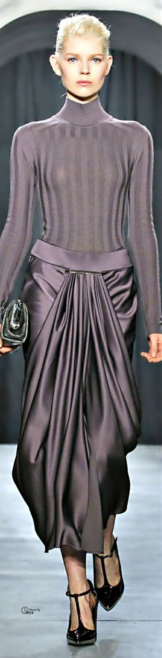 Jason Wu ● FW 2014-15 gunmetal knit top with draped satiny skirt in same color