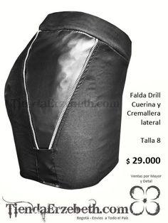 falda drill licrado cuerina cremallera disenos medellin cali manizales  pereira yopal bucaramanga armenia cucuta pasto tunja 6e7283937ce5