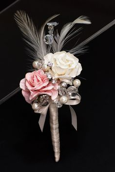 Bridal bouquet Pink and Ivory Rose Boutonnière. Homecoming Flowers, Prom Flowers, Wedding Flowers, Fake Flowers, Wedding Dresses, Pink Bouquet, Brooch Bouquets, Bride Bouquets, Rose Boutonniere