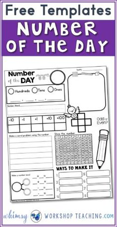 Use these free Number of the Day templates every day with a different number to build math sense and confidence! There are two differentiated versions to meed students math levels and needs.