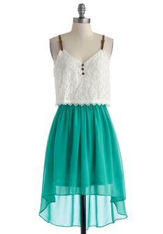 Portrait in the Park Dress - Mid-length, Green, White, Buttons, Lace, Casual, High-Low Hem, Spaghetti Straps, V Neck, Solid, Tiered, Fairytale, Twofer, Summer, Chiffon