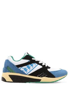 Kappa Mesh & Suede Running Sneakers In Blue,green Running Sneakers, Kappa, Blue Green, Mesh, Flats, Mens Fashion, Leather, Shopping, Shoes