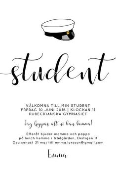 Studentkort Kalligrafi Invitation Design, Invitation Cards, Graduation Day, Typography, Lettering, Anna, School, Tips, Party