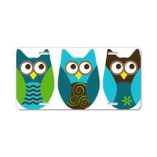 three owls blue and brown Aluminum License Plate