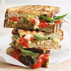 Italian Chicken Panini with Roasted Bell Peppers.