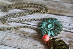 Hey, I found this really awesome Etsy listing at https://www.etsy.com/listing/107400603/patina-flower-necklace-vintage-necklace