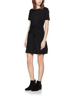 18, Black (Black), New Look Women's Wide Front Tie Dress NEW