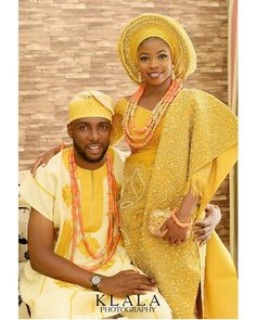 African Aso oke Couples 10 Piece Set/Traditional Nigerian Wedding Beads/Feather Fan/African Wedding Dresses/Asooke (Gold) - All About African Fashion Designers, African Men Fashion, African Wear, African Attire, African Fashion Dresses, African Women, African Dress, African Fashion Traditional, Nigerian Traditional Clothing