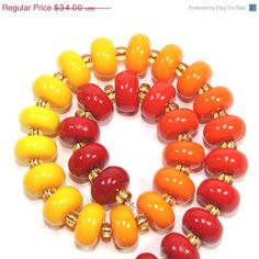 Christmas in July sale Colorful elegant Ombre beads, polymer Clay beads, unique beads in gradual transformation from shiny reds to oranges on Etsy, $28.90