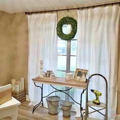 Farmhouse living room DIY curtains now sew just $5 to make each of the farmhouse curtains! Cheap farmhouse decor.