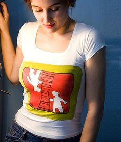 Hand painted T-shirt with comic design. Paint by by AHouseAtelier