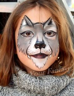 Maquillage de fantaisie loup fantasy make up wolf face painting for kids halloween - Maquillage loup facile ...