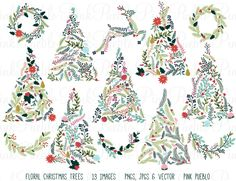 Floral Christmas Trees & Bunting by PinkPueblo on @creativemarket