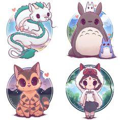 Kawaii Ghibli Stickers and/ or Prints or CatBus, Haku, Totoro, Mononoke - Happy Tiere Pet Anime, Anime Animals, Anime Kawaii, Kawaii Art, Anime Chibi, Kawaii Chibi, Anime Art, Kawaii Style, Cute Kawaii Animals