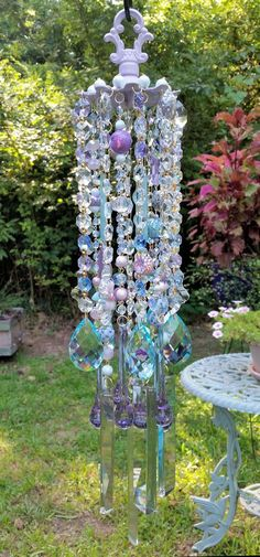Lilac Sky Antique Crystal Wind Chime by sheriscrystals on Etsy