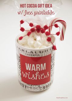 Hot cocoa gift idea w/ free printable ...super cute and easy! #shutterflydecor
