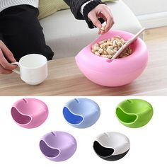 Useful Double Layers Snacks Fruit Plate Bowl Dish Phone Holder for TV Lazy Home Accessories Hogard