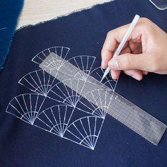 Kit sashiko | Sashiko Stencil par acrylique - Sashiko broderie motif - modèles de Quilting pochoir | en forme d'éventail