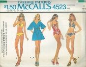 An unused original ca. 1975 McCall's Pattern 4523.  Misses' Set of Swimsuits and Cover-Up - Swimsuits for Unbonded Stretchable Knits. Faced swimsuits have halter neckline. Swimsuit B with elastic ini leg opening casings, and upper front gathered into loop, has tie drawn thru back and upper front casings. Two-piece bra C has ties drawn thru front and back casings. Two-piece bra D has tie drawn thru lower casing. Bikinis have elastic in casings. front wrap cover-up has dolman sleeves...