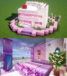 Strawberry Short Cake House🍰 Would you like a piece of cake? By u/xxcutebuildxx Villa Minecraft, Plans Minecraft, Architecture Minecraft, Minecraft Cottage, Minecraft Mansion, Minecraft Interior Design, Cute Minecraft Houses, Minecraft House Tutorials, Minecraft Room