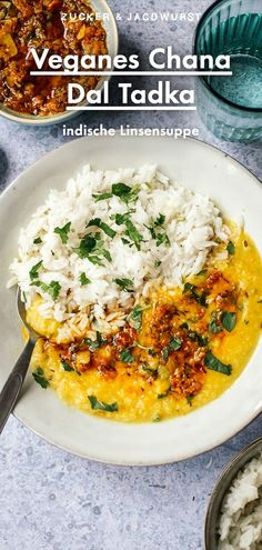 Simples Chana Dal Tadka mit Reis #linsen #indisch #rezept