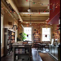 This Library Bar In New Hampshire Is Every Book Nerd's Paradise - Today it has been lovingly transformed into a combination bookstore, cafe, and bar. Cafe Interior Design, Cafe Design, House Design, Bookstore Design, Cafe Bookstore, Bar Pub, Cafe Bar, Library Cafe, Book Bar