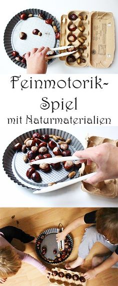 Basteln mit Kastanien und Eicheln: 7 geniale Ideen + Video Train fine motor skills with the help of natural materials. Montessori Materials, Toddler Preschool, Fine Motor Skills, Natural Materials, Acorn, Kids And Parenting, Diy For Kids, Activities For Kids, Kids Crafts