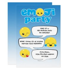 emoji birthday party cute personalized card birthday invitations