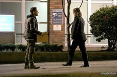 Sean Maguire & Robert Carlyle filming scenes for episode 4x17 (January 28, 2015)
