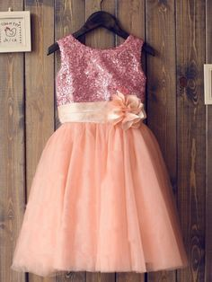 A-line/Princess Scoop Sleeveless Sequin Long Tulle Dresses,Flower Girl Dresses